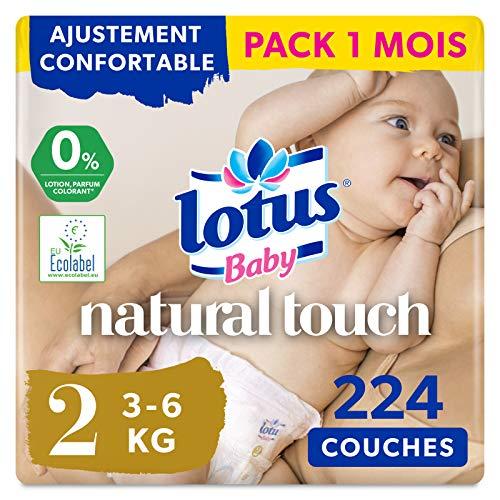 Lotus Baby Natural Touch- Couches Taille 2 (3-6 kg/Nouveau-Né) - lot de 4 paquets...
