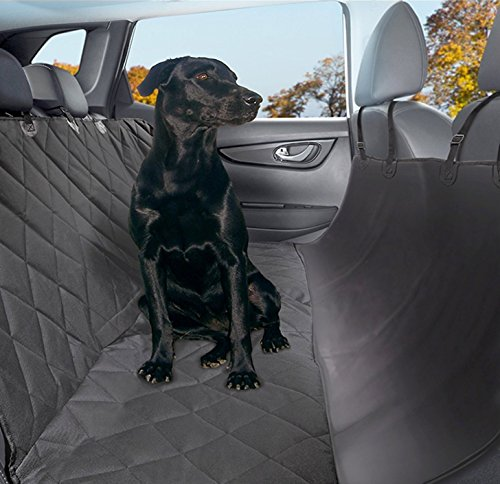 Plush Paws Products Hammock Waterproof Luxury Car Seat Cover with Pet Harnesses, Regular (Black)...