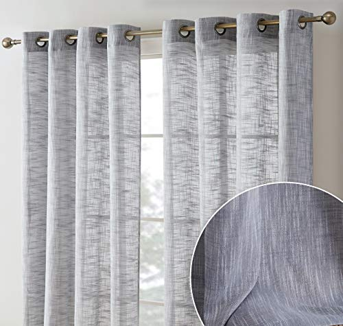 HLC.ME Madison Faux Linen Textured Semi Sheer Privacy Light Filtering Transparent Window Grommet Floor Length Thick Curtains Drapery Panels Office & Living Room, 2 Panels (54 W x 84 L, Charcoal Grey)
