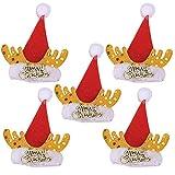 SpirWoRchlan Lot de 5 décorations de Noël en forme de corne de cerf pour bouteille de vin - Chapeau - Décoration de fête - Décoration de Noël - Cadeaux de Noël