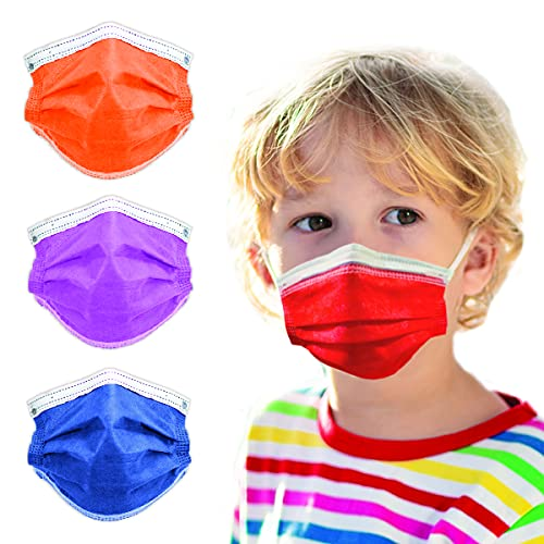 4-Ply Breathable Kids Disposable Face Mask - Made in USA - Highest Protection with Comfortable Elastic Ear Loop   For Travel, Offices, Business and Personal Care - Ruby Red (50 PCS)