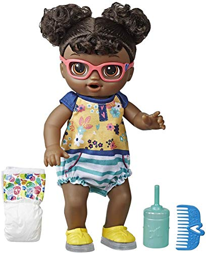 Baby Alive Step ?N Giggle Baby Black Hair Doll with Light-Up Shoes, Responds with 25+ Sounds & Phrases, Drinks & Wets, Toy for Kids Ages 3 Years Old & Up