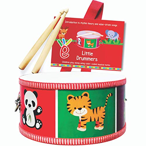 Extasticks Drum Set for Kids  Musical Toy for Toddlers  Wooden Instrument Drums for Children 3 Years and up with ColorCoded Drum Book