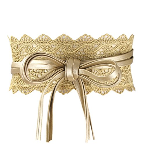 Womens Faux Leather Wide Golden Retro Cinch Belt Lace Up Wrap Around Obi Waistband