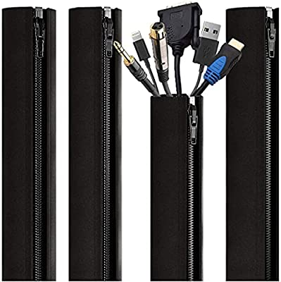 EVEO Cable Management Sleeve - 4 Cable Sleeve Cord Organizers - PC Cable Management Solution with Cable Organizer - Wires Sleeve Black Cord Management