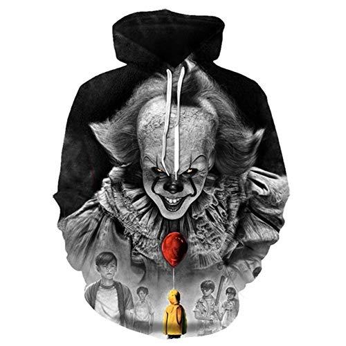 Hcxbb-16 3D Imprimé Hoodies- Couleur Unie Hommes Femmes Freddy Jason Film Pull Clown Sweat à Capuche Tops Halloween (Color : E, Size : 4XL)