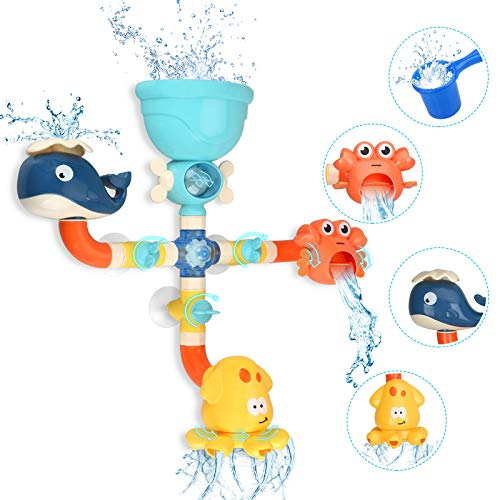 TOYOKID Bath Toys for Toddlers Kids 1 2 3 4 5 Years Old Boys and Girls, Bathtub Toy Baby Bathing DIY Pipes Tubes with Spinning Waterfall Water Spout Color Box