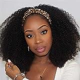 Afro Kinky Curly Diadema Pelucas para el cabello humano para las mujeres negras Sin éxito Ninguna Pelucas delanteras de encaje Peluca Diadema Peluca Humana 150% Densidad Brasileño Virginal Máquina de