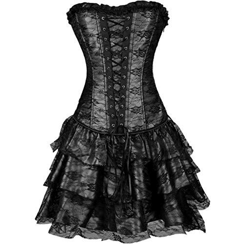 iHENGH Damen Frühling Sommer Rock Bequem Lässig Mode Kleider Frauen Röcke Sexy Burlesque Korsett mit Minirock Fancy Dresses Costume(Schwarz, M)