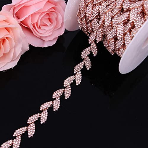 Cinturón de vestido de novia de cristal de oro rosa, adorno de cadena nupcial, adorno de diamantes de imitación, apliques para coser prendas, ropa DIY