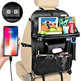 Premium Car Backseat Organizer with Tray, PU Leather Back Seat Car Storage Organizer with 4 USB Ports, Foldable Tray, Tablet Holder, Tissue Box, Multi Pockets etc, for Kids Toys Book Bottle Drinks
