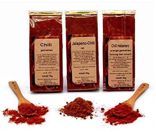 1001 BASAR Chili Gewürz Set | Chili Set | Chili Geschenkset | schärfste Chili der Welt | Gewürze Set |scharfe Gewürze | Gewürzset scharf | Chilipulver extrem scharf | Jalapeno | Habanero