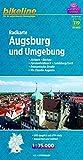 Bikeline Radkarte Augsburg und Umgebung 1 : 75 000, wasserfest und reißfest, GPS-tauglich mit UTM-Netz