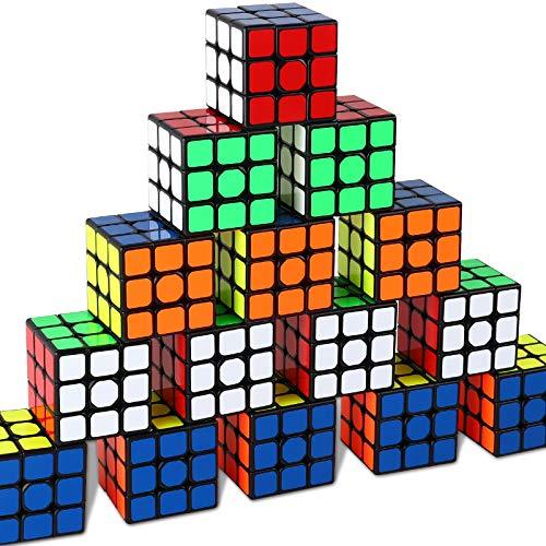 Juego de cubos de tamaño completo de 3 × 3 × 3 × 3, juguete de fiesta para fiestas, material ecológico con colores vivos, juego de rompecabezas para niños y adultos (10 paquetes), 2.2 pulgadas en cada lado.