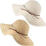 2 Piezas Sombreros de Verano de ala Ancha de Mujer Sombrero de Sol Enrollable de Playa Sombrero Plegable de Viaje Flexible de Encaje