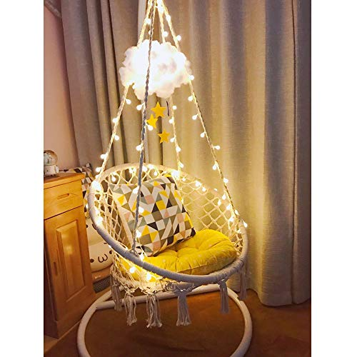 Sonyabecca LED Hanging Chair Light Up Macrame Hammock Chair with 39FT LED Light for Indoor/Outdoor Home Patio Deck Yard Garden Reading Leisure Lounging Large Size(65x85cm)(Not Included Stand)