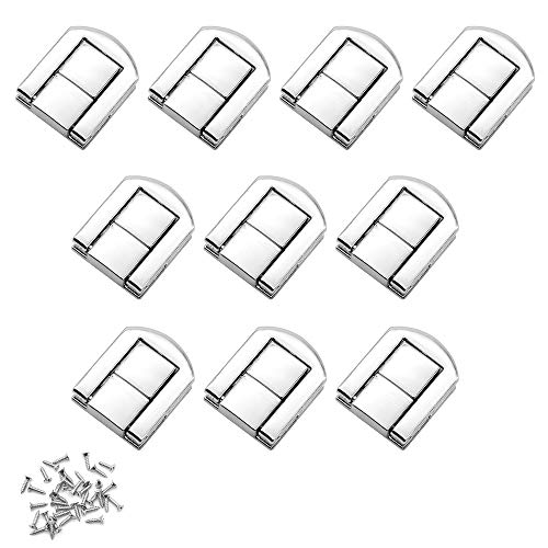 Dylan-EU 10 Stück Toggle Catch Lock 25 * 20 mm Holzkiste Hasp Latch Silber Spannverschluss mit Schrauben für Holzkisten Ledertaschen Weinkisten Schmuckschatullen