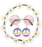 Shoperama - Set di occhiali, fascia per capelli con fiori e orecchini con simbolo della pace per costume da hippie/figli dei fiori anni '70