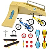 17PCS Mini Finger Toys Set, Finger Skateboard Park Ramp Toys Finger Bike Skate Park Kit with Replacement Wheels and Tools