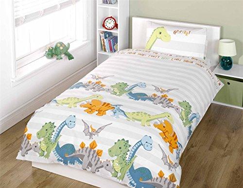 Rapport Juego de Funda de edredón de Dinosaurio para niños, Natural, 120 x 150 cm | Dino-Natural-jr-Duvet-Set