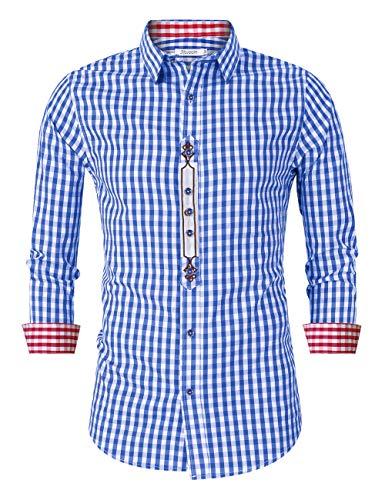KOJOOIN Herren Kariert Trachtenhemd Landhausstil Langarmhemd Slim fit Hemd, Blau-stickerei, Gr.- S/ 34 EU