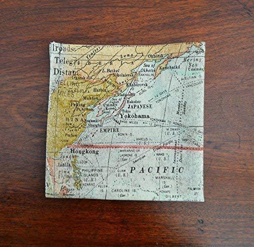 "Cotton Pocket Scarf - Handkerchief -""Voyage of the Beagle"" Map - Pocket Square"