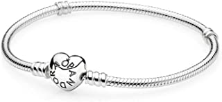 Jewelry - Moments Heart Clasp Snake Chain Charm Bracelet for Women in PANDORA Rose and Sterling Silver with No Stone