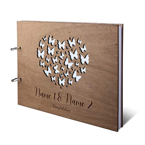 Hochzeit Gästebuch Okoume Holz Gravur individuell Holzcover mit 144 Naturpapier Innenseiten DIN A4...