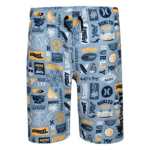 Hurley Jungen Pull On Board Shorts Boardshorts, Blau/Aufkleber, XL