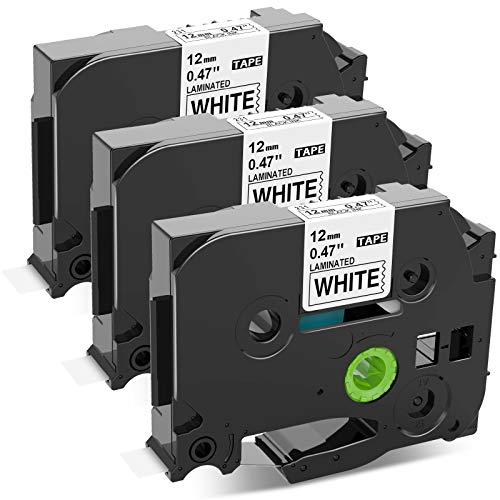 Upwinning kompatibel Schriftbänder als Ersatz für Brother P-touch TZe-231 Schriftband, TZe231 Laminiert AZe Tape 12mm 0.47 schwarz auf weiß Bänder für Ptouch 900 H105 1010 1000 Cube, 3er-Pack