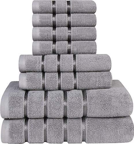 Utopia Towels - Lot de 8 Serviettes de Toilette Gris Froid - Serviettes à Rayures en Viscose - 600 GSM Ring Spun Cotton - Serviettes très absorbantes (Lot de 8)