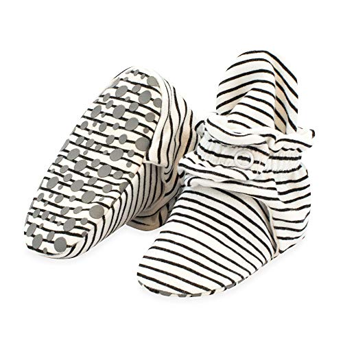 Zutano Organic Cotton Baby Booties with Gripper Soles, Soft Sole Stay-On Baby Shoes, Pencil Stripe, 6M