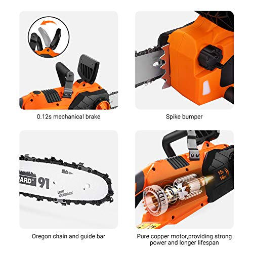 TACKLIFE Electric Chainsaw, 18-Inch 15-Amp Corded Chainsaw, Oregon chain, Copper Motor, 0.12s Machanical Brake and Spike Bumber Included, Self-lubrication, Tool-free Tensioning -GCS15B