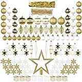 ITART Conjunto de Adornos para árboles de Navidad 122ct Surtido de Adornos de Navidad Incluyendo Adornos Copos de Nieve Granos de Abalorios Cajas de Regalo Conos de Pino Lágrima Oro Blanco