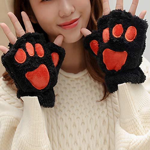 Hzonder Schöne Damen-Handschuhe mit Katzenpfoten, Plüsch, Kostüm, warm, halber Finger, Schwarz