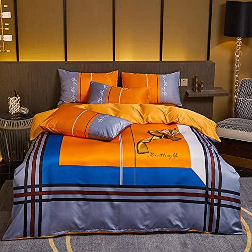 Bedding-LZ Copripiumino in Pile Matrimoniale,Biancheria da Letto in Quattro Pezzi in Insalata di Estate-N_1,5 m del Letto