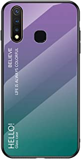 YEESOON Vivo Y19 Case, Fantastic Gradient Change Color Case Tempered Glass Backplane Soft TPU Bumper Back Cover for Vivo Y19 - Purple
