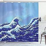ABAKUHAUS Kanagawa Duschvorhang, Big Tsunami Meer Natur, Bakterie Schimmel Resistent inkl. 12 Haken Waschbar Stielvoller Digitaldruck, 175 x 200 cm, Hellblau Royal Blau