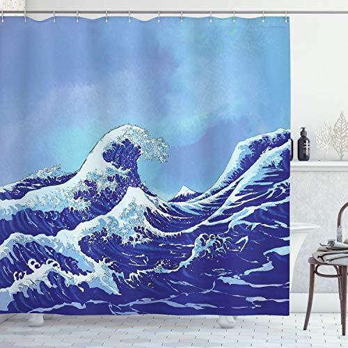 ABAKUHAUS Kanagawa Duschvorhang, Big Tsunami Meer Natur, Bakterie Schimmel Resistent inkl. 12 Haken Waschbar Stielvoller Digitaldruck, 175 x 240 cm, Hellblau Royal Blau