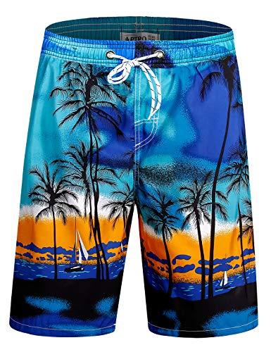 APTRO Men's Swim Trunks Long Palm Board Shorts Beach Swimwear #D1701 Blue 3X