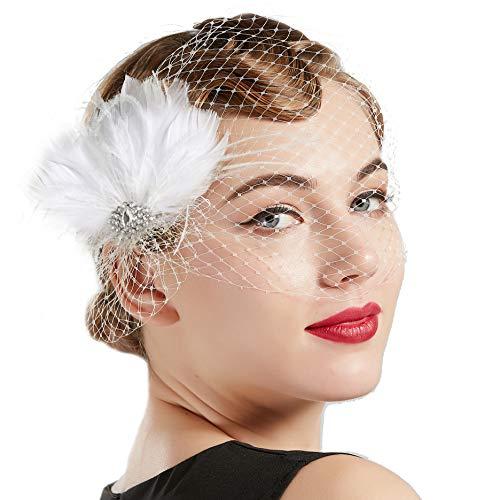 BABEYOND Bridal Wedding Fascinator Mesh Feather Fascinator Hair Clip Tea Party Fascinator Veil Crystal Wedding Veil (White6)