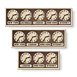 monastar Multi Time Zone Wall Clock, City/State/Country Sign, Family Multiple Time Zone, World Time Clock, Office Clock, Family Time Zone Clock, Wall Art Décor, Wooden Big Clock