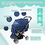 IREENUO Pet Trolley Cart, 4 Wheels Foldable Pram for Cat Dog, 360° Rotation Front Wheel Pet Travel Stroller, Quick Folding, Max Loading 30kg - Blue 13