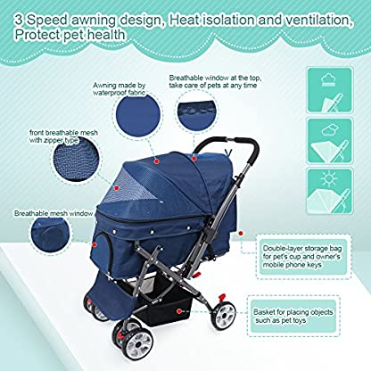 IREENUO Pet Trolley Cart, 4 Wheels Foldable Pram for Cat Dog, 360° Rotation Front Wheel Pet Travel Stroller, Quick Folding, Max Loading 30kg - Blue 6