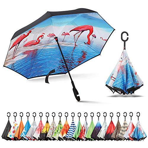 Sharpty Inverted Umbrella, Umbrella Windproof, Reverse Umbrella, Umbrellas for Women, Upside Down Umbrella with C-Shaped Handle (Flamingo)
