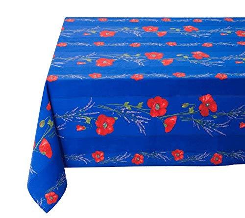 Tissus Toselli Elegante Tischdecke 150x150 cm Baumwolle Blau Roter Mohn Baumwolltischdecke Beschichtet Nizza Provence