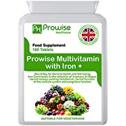 Multivitamin & Iron 180 Tablets (6 Months Dose) Immune Support - One A Day Multi-Vitamin Supplement – UK Manufactured to GMP Guaranteed Quality - Suitable for Vegetarians by Prowise Healthcare