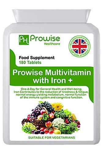 Multivitamines et fer 180 comprimés (dose de 6 mois) Soutien immunitaire - Supplément multivitaminé un par jour - Fabriqué au Royaume-Uni | Normes GMP de Prowise Healthcare - Convient aux végétariens