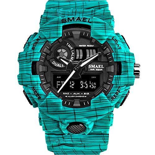 xiaoxioaguo Reloj deportivo Militar de los Hombres del Ejército Digital LED 50m Impermeable Reloj de los Hombres de los Deportes al aire libre Reloj Simple CowboyLightBlue