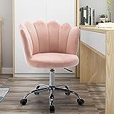 SSLine Modern Cute Desk Chair Kids Childern Study Chair Rolling Upholstery Computer Chair on Wheels Elegant Soft Velvet Swivel Chairs W/Shell Back for Girls Women -Pink